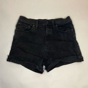 Madewell High Rise Black Denim Shorts